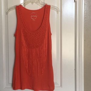 INC coral tank top with fringes